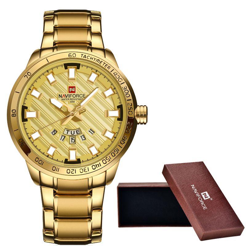 Новый naviforce Элитный бренд Часы Для мужчин Спорт Полный Сталь кварцевые часы человек 3ATM Водонепроницаемый часы Для Мужчин's Военное Дело нару...