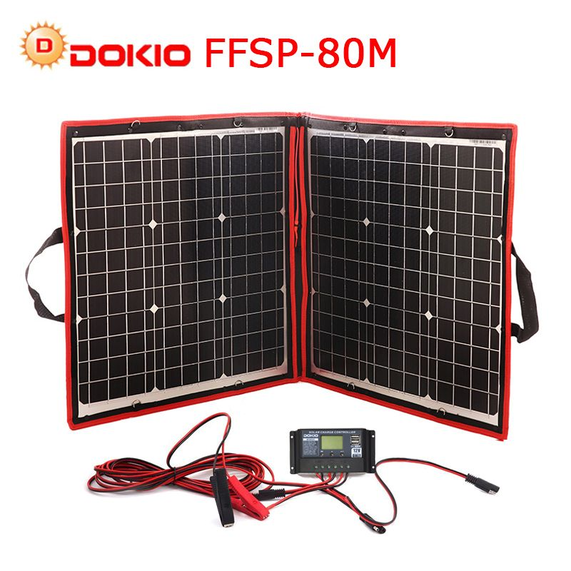 Dokio 18V 80W Flexible Foldble Mono Solar Panel Outdoor Portable Solar Panel For Travel&Boat&RV High Quality Solar Panel China