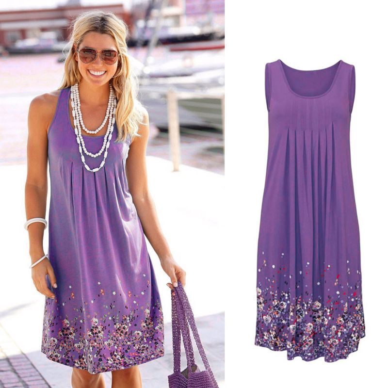 Sleeveless Floral Print Loose Beach Summer Dress Fashion Six Colors Casual Women Dress 2019 Sexy Dress Plus Size S-5XL