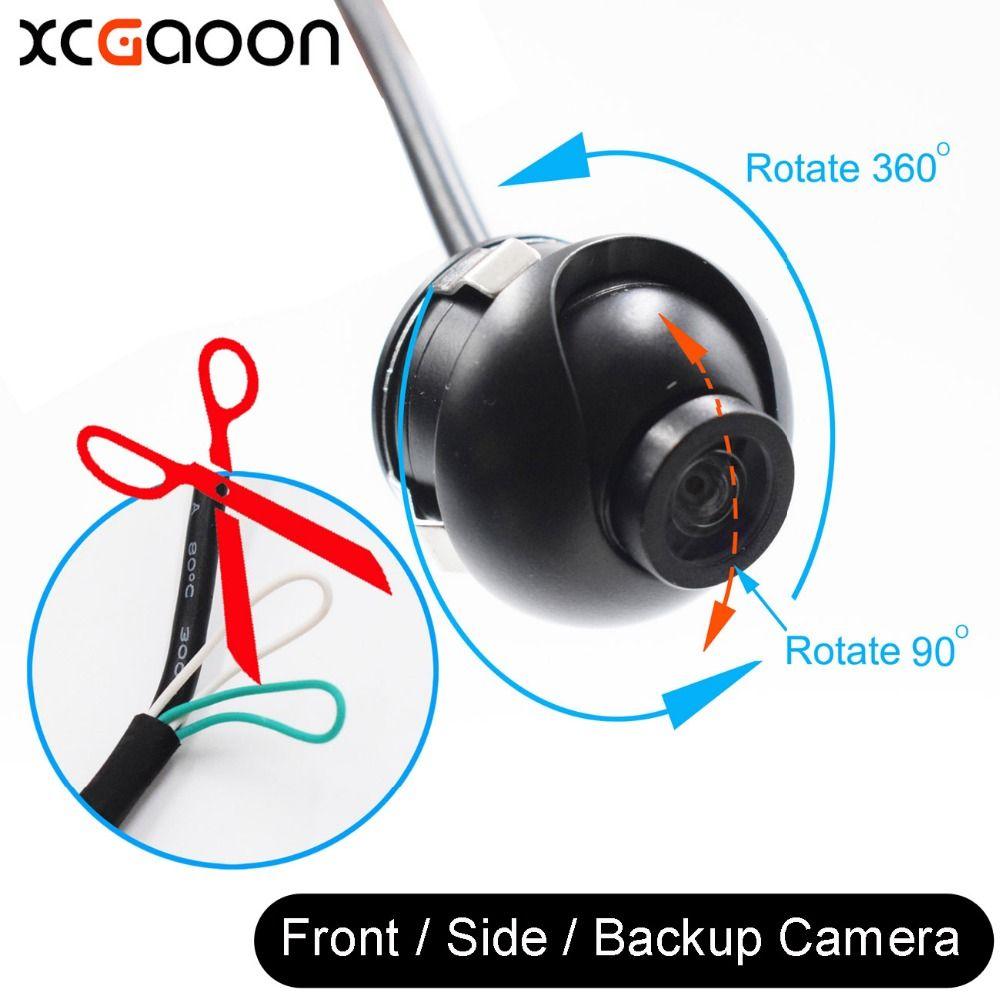 XCGaoon Nouveau Mini CCD 140 Degrés Grand Angle Réel Étanche Voiture Avant/Côté/Arrière Vue Caméra De Recul Peut 360 Rotation
