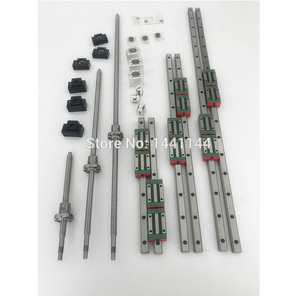 3 sets Platz Linear führer sätze 400/700/1000mm + 3 stücke Kugelumlaufspindel 1605-400/ 700/1000mm mit Mutter + 3 satz BK/B12 + Kupplung für CNC