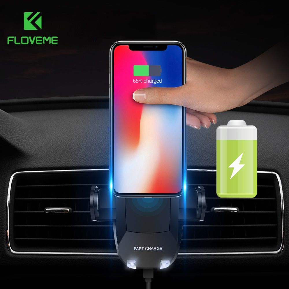 FLOVEME High-Tech Design Car Phone Holder Wireless Charger For iphone X 8 Phone Holder Charging Adapter For Samsung S9 Note 8 S8
