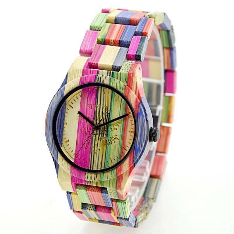 BEWELL Women Men Elegant Colorful Bamboo Wood Watch Waterproof Fashionable Quartz Wrist Watch (with Gift Box)