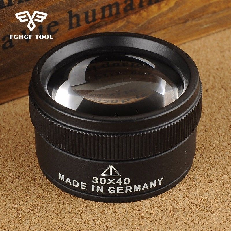 FGHGF Premium 30x 40mm Measuring Magnifier Magnifying Glass Lens Loop Microscope For Coins Stamps Jewelry Lupe