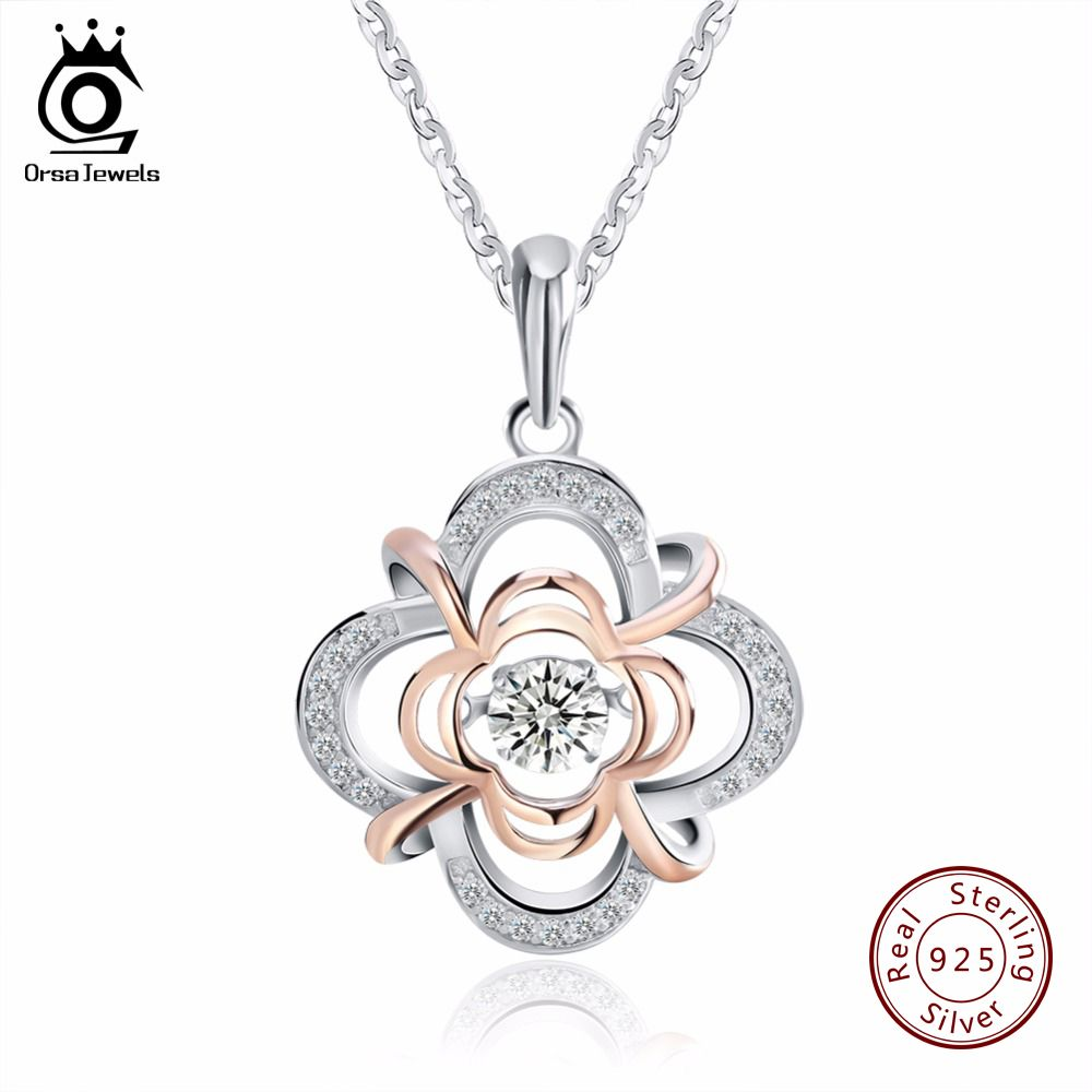 ORSA bijoux véritable 925 argent mignon fleur pendentif colliers mixte couleur or Rose avec mobile 0.3 ct cristal pour les femmes SN14
