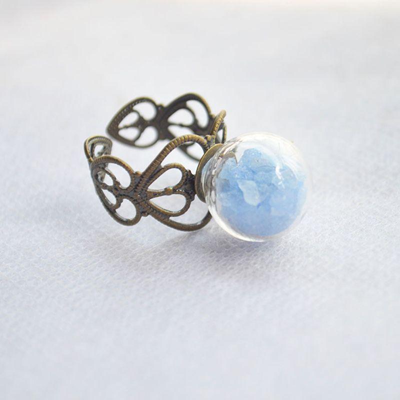 Azul Piedra de Cristal Brillan En La Oscuridad Pelota Corazón Redimensionable Anillo de Bodas de la Joyería de La Vendimia de cobre Moda Aman Los Regalos Para Las Mujeres Diy