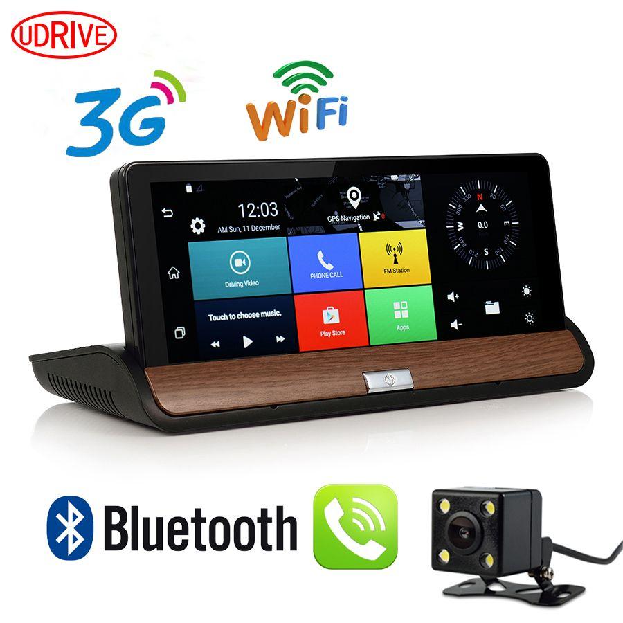 Udricare 7 inch 3G GPS WiFi Android 5.0 Dashboard GPS Navigation Dual Lens Bluetooth FHD1080P 1GB RAM Rear View Camera DVR