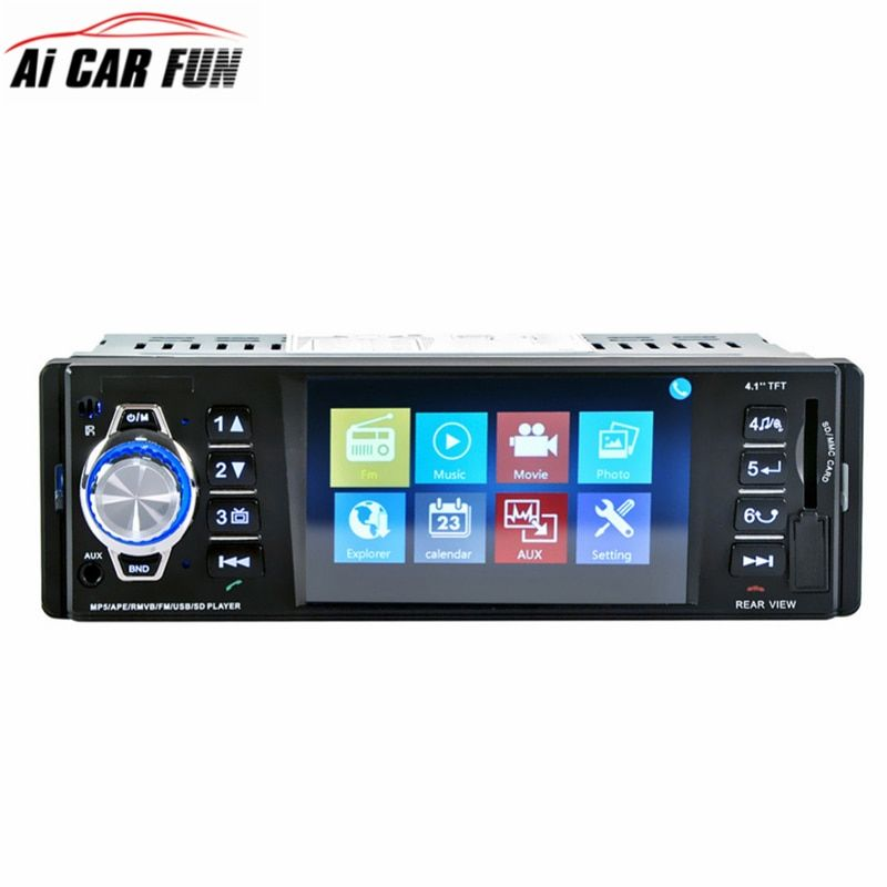 4016C 4.1 Inch 1 Din Car Video Mp5 Player Car Radio Player High-definition LCD Display Car Audio Player with IR Rear View Camera