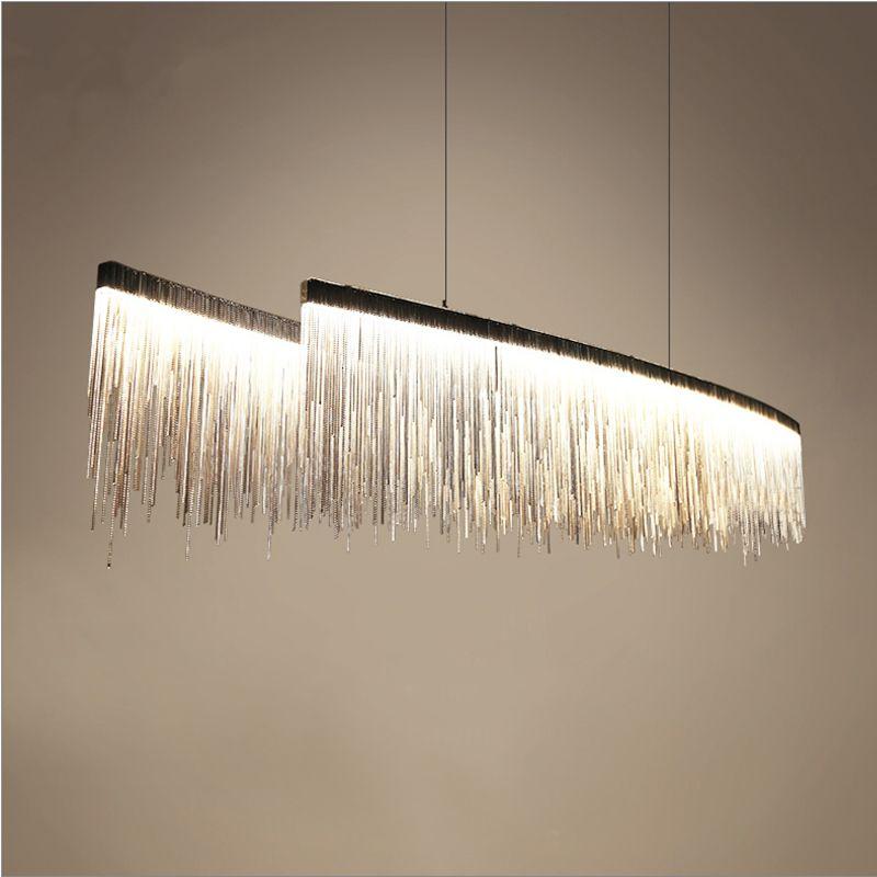 Современный дизайнер Nordic кисточкой Ресторан роскошные люстры отель инженерных цепи гостиная Art подвесные светильники