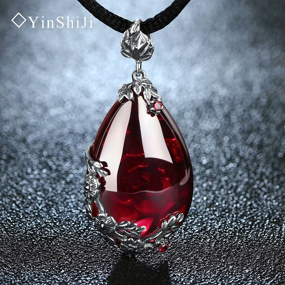 YinShiJi <font><b>Retro</b></font> 100% 925 Silver Sterling Royal Natural Stones Pendant Necklace Jewelry For Women Vintage