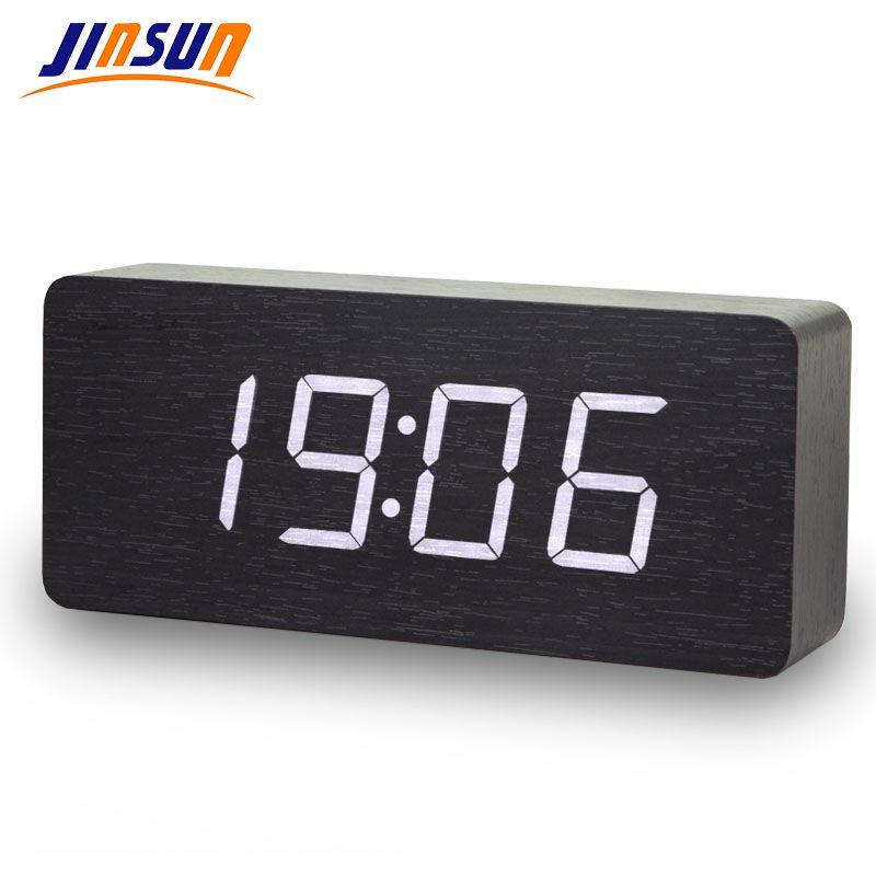 JINSUN horloges numériques LED en bois Despertador moderne carré coloré réveil avec température commande vocale capteur de bureau
