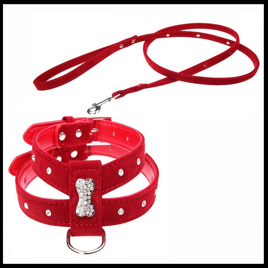 Strass os charme chien harnais et laisse gilet Chihuahua doux velours cuir pour chien petit animal accessoires ensemble