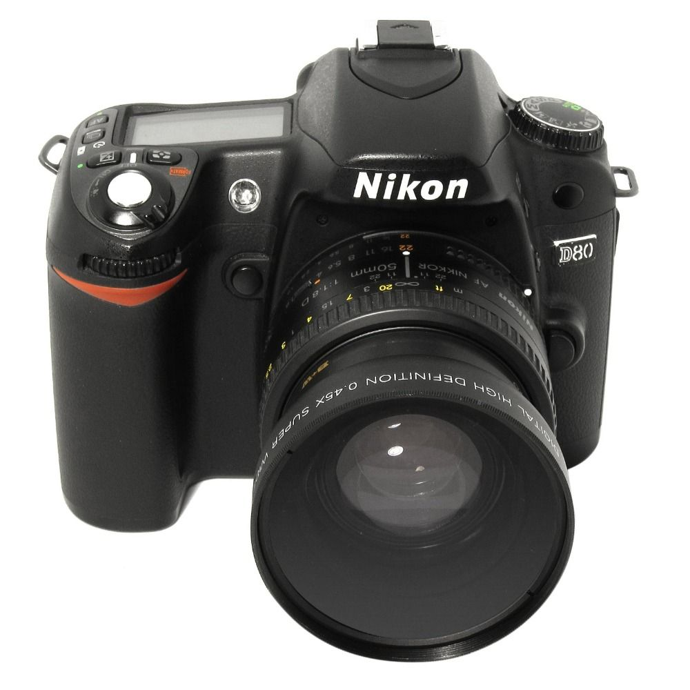 Objectif grand Angle Lightdow 52 MM 0.45x + objectif Macro pour Cannon D5000 D5100 D3100 D7000 D3200 D80 D90 D3200 objectif caméra 18-55 MM