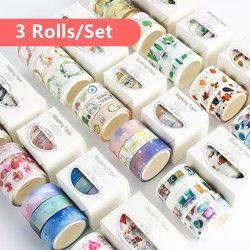 3pcs/pack Washi Masking Tape Set Petal Animal Flower Paper Masking Tapes Japanese Washi Tape Diy Scrapbooking Sticker, 15mm x 5m