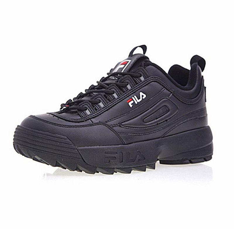 2018 Fila disruptor II 2 тапки Кроссовки черный белый большой пилообразной толстым дном увеличился человек низкая открытый Спортивная обувь 39- 44