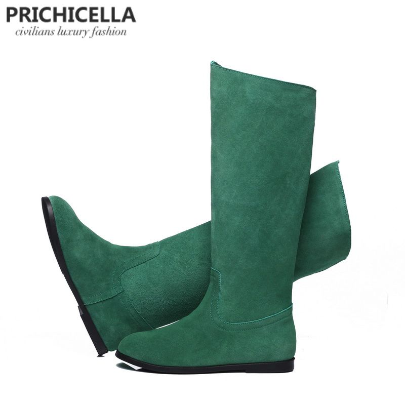 PRICHICELLA genuine leather suede knee high boots women winter warm tall booties orange green color boots