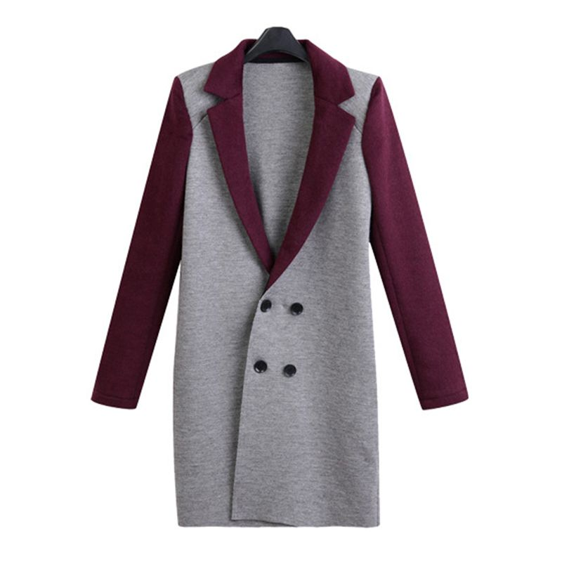 2017 Winter Women Wool Blends Outerwear Double Breasted Long Coats Fashion Casual Vintage Long Sleeve Turn Down Collar Jacket