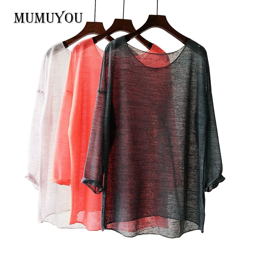 Women Transparent Blouse Shirt Linen Cotton Loose Knitted Ladies Tops Long Sleeve Blouses Asymmetric <font><b>Semi</b></font> See Through 906-549