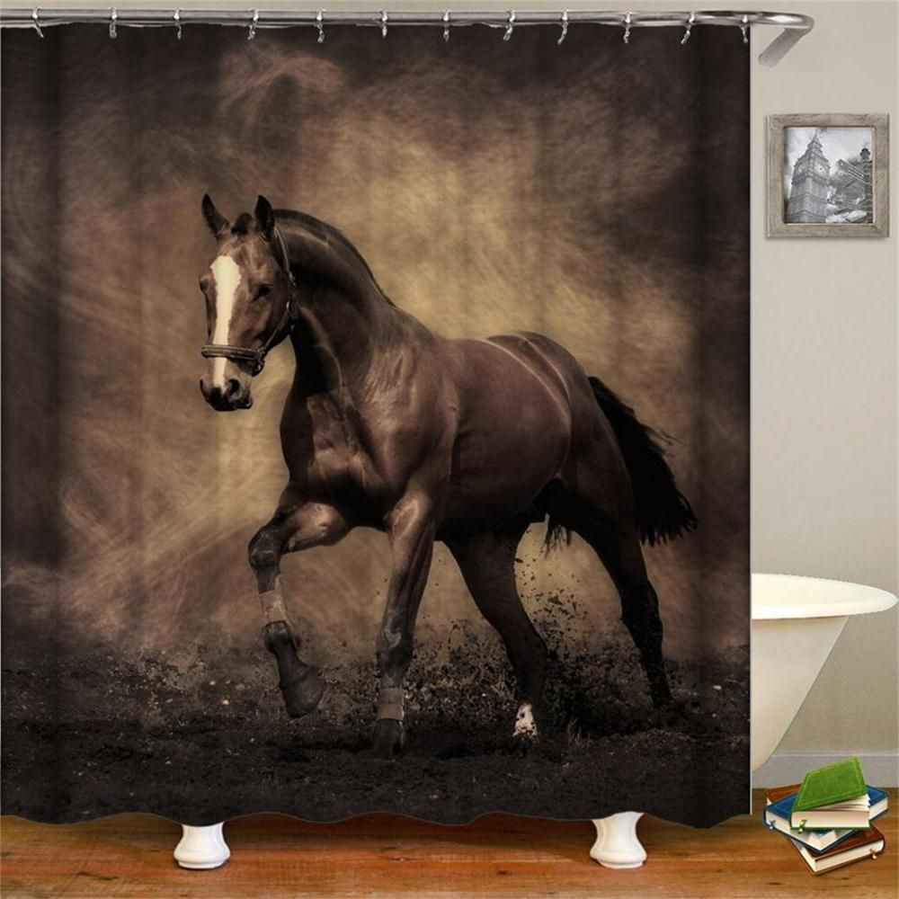 Retro West Cowboy Boots Hat Horses Waterproof Fabric Polyester Shower Curtains