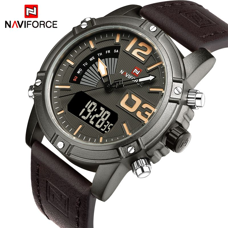 NAVIFORCE Fashion Luxury Brand Men Waterproof Military Sports Watches Men's Quartz Digital Leather Wrist Watch relogio masculino