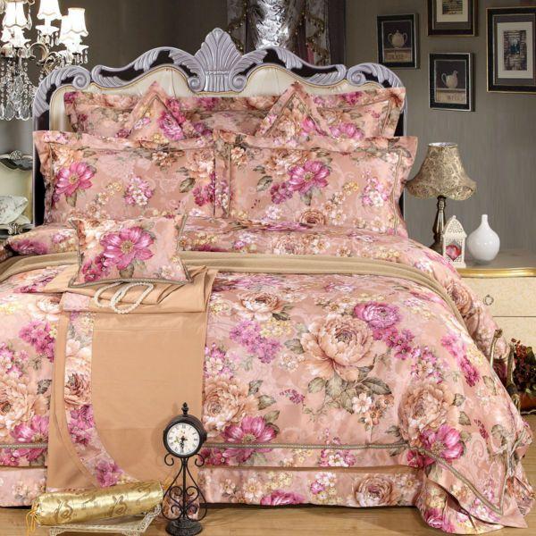 Jardín de estilo de ropa de cama de satén de algodón jacquard de seda de la boda colección peonías en flor de la impresión ropa de cama de la Reina/juegos de cama King Size