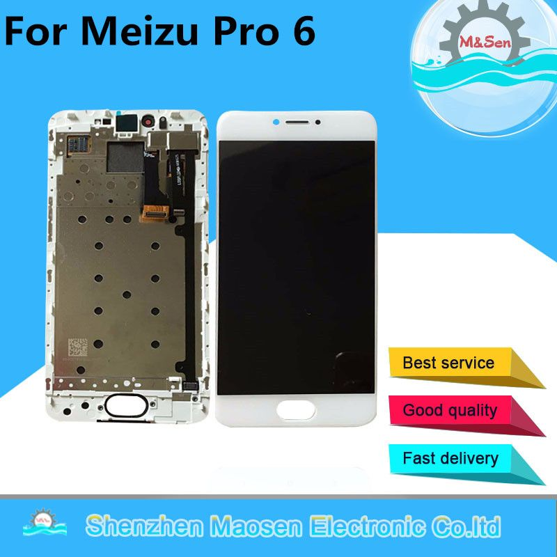 M&Sen For 5.2'' Meizu pro 6 M570M M570C M570Q LCD display screen+ Touch panel Digitizer with frame Free shipping