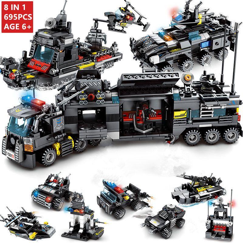 8 pcs/lot 695 pièces Ville Police SWAT Camion Blocs Ensembles Navire Hélicoptère Véhicule Technique Briques Playmobil Jouets pour Enfants