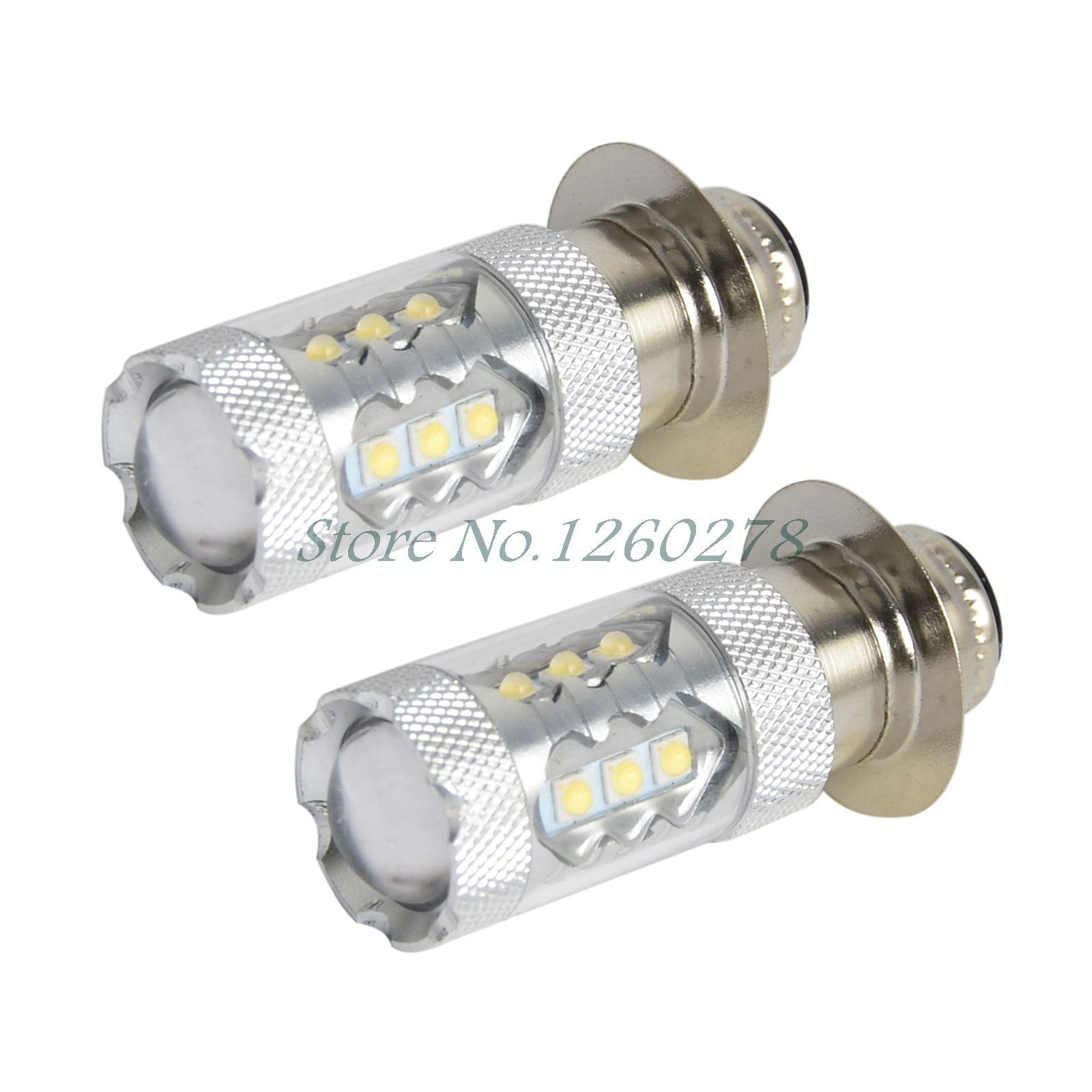 2PCS 80W Super White LED Headlights Bulbs Upgrade For Yamaha ATVS YFM350 400 450 660 700 Raptor Blaster 200 Banshee 350