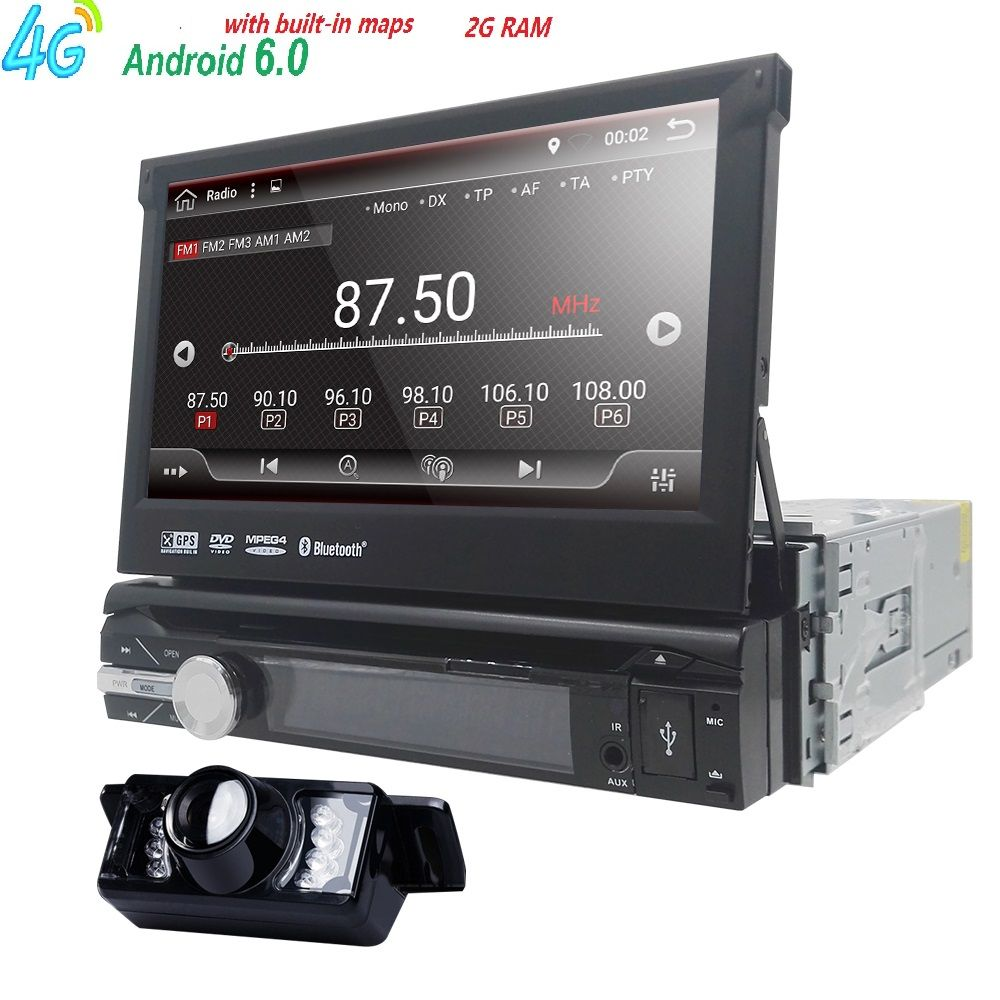 Android 6.0 Universal 1 Din Car video Player GPS Navigation In-dash Detachable Front Panel 1 din Car Radio Stereo with BT 2G RAM