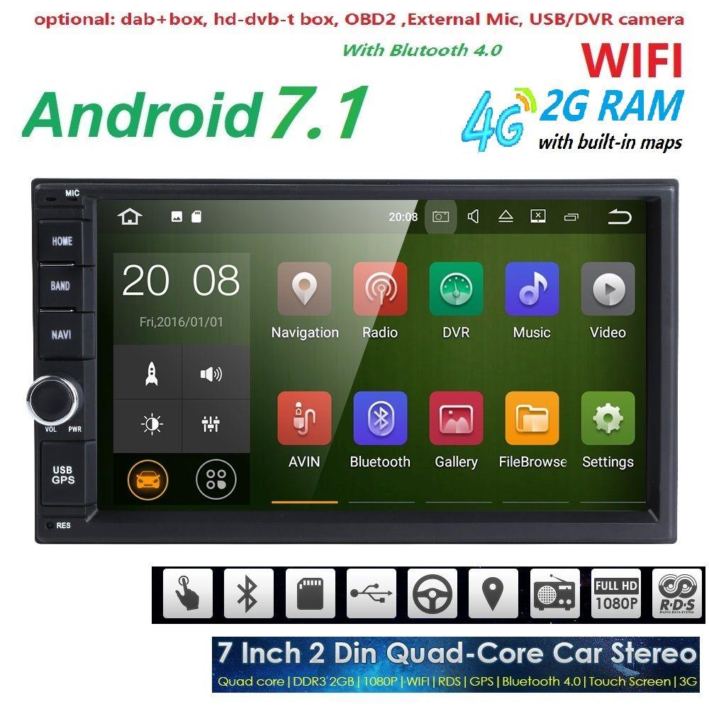 4 ядра чистый андроид 7.1 Автомобильный Мультимедийный Плеер Автомобильные ПК Планшеты двойной 2Din 7 ''GPS навигации стерео Радио Bluetooth Нет DVD