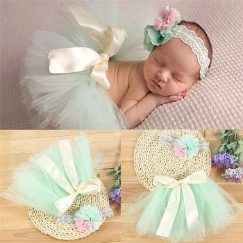 Hot Newest Newborn Photography Props Infant Costume Outfit Princess Baby Bubble Tutu Skirt Headband Baby Photography Prop