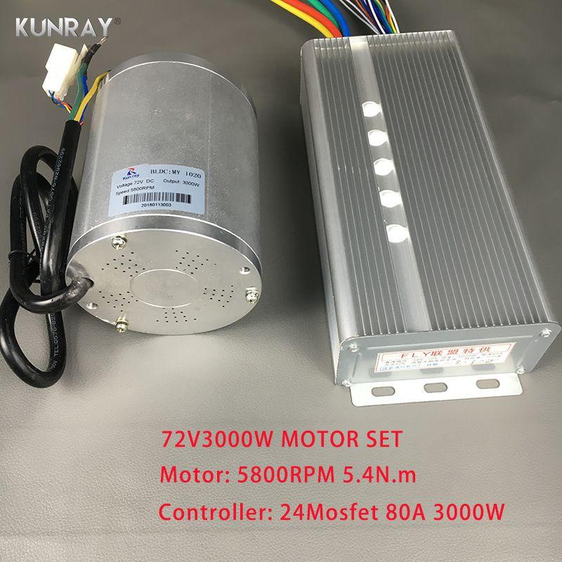 KUNRAY BLDC 72 v 3000 watt Bürstenlosen Motor Kit Mit 24 Mosfet 50A Controller Für Elektrische Roller E bike E -auto Motor Motorrad Teil