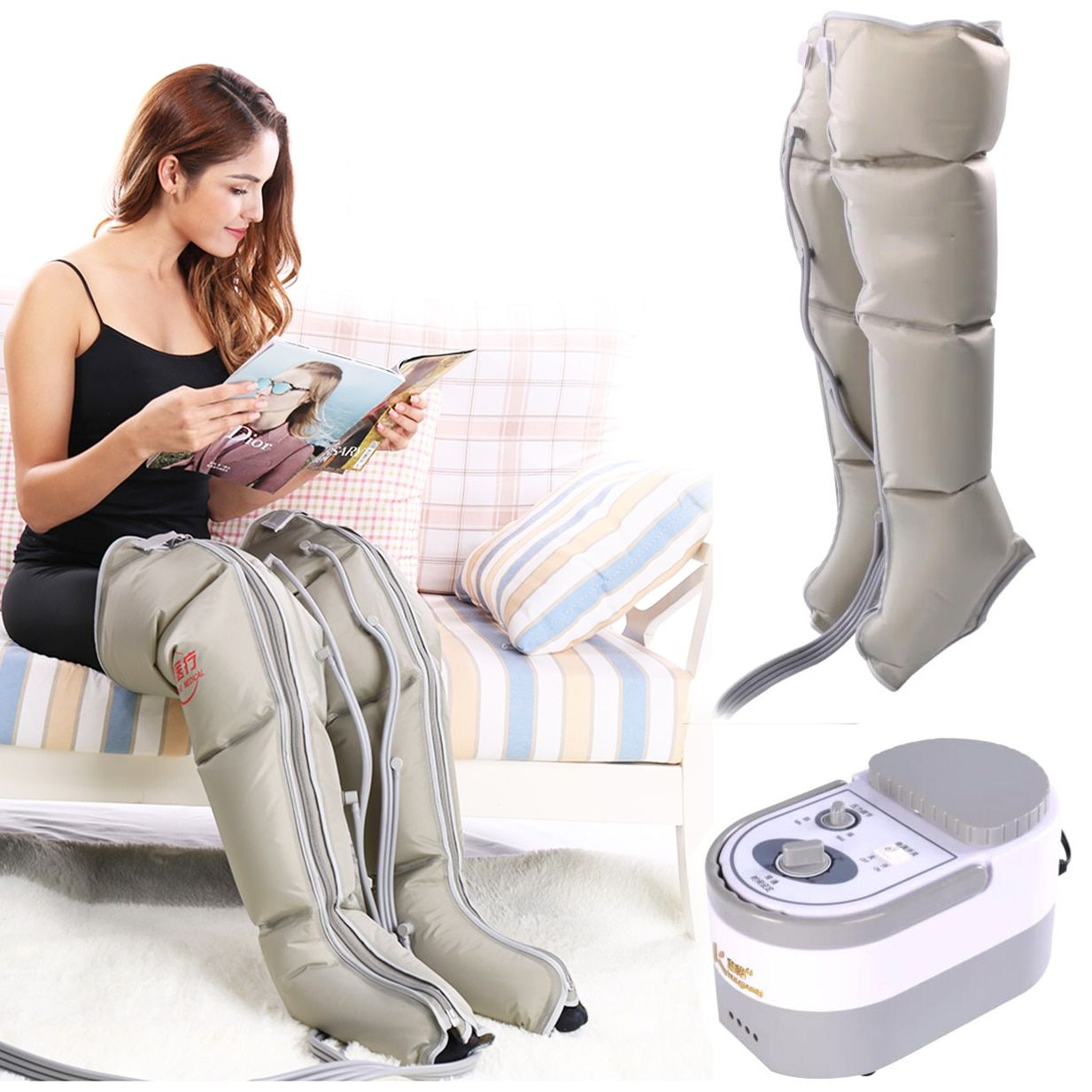Masseur électrique de jambe de Compression d'air enveloppant la Machine de Massage de mollet de chevilles de pied favorisent la Circulation sanguine soulagent la Fatigue de douleur