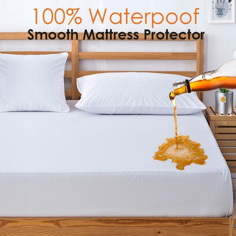 Russian All Size 100% Polyester Smooth Waterproof Mattress Cover Machine Washable Matress Protector Colchao Dust Mites Bed Cover