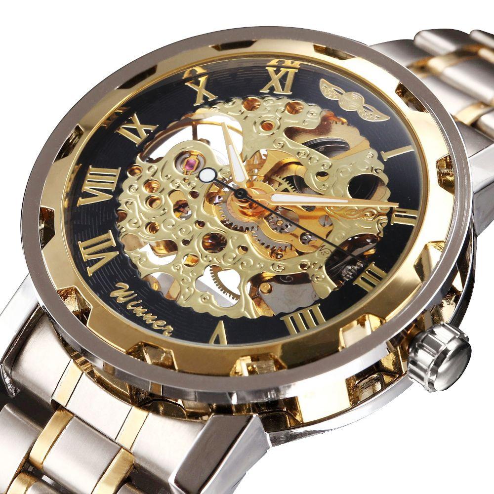WINNER Golden Watches Men Skeleton <font><b>Mechanical</b></font> Watch Stainless Steel Strap Top Brand Luxury T-WINNER Classic Wristwatch 17 COLORs