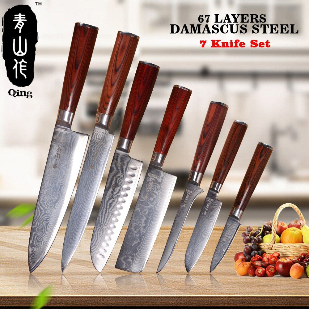 QING 7-Pieces Damascus Knife Set Top Grade Japanese Damascus Steel Cooking Tools Color Wood Handle Kitchen Knives New Arrival