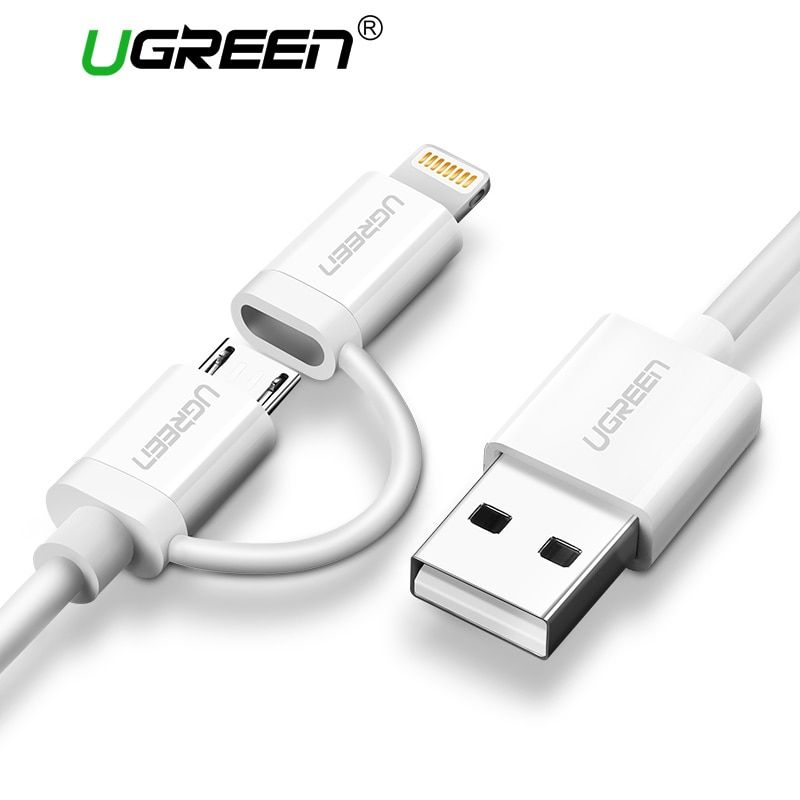 Ugreen 2 in 1 USB Cable for iPhone 7 6 MFi Lightning to Micro USB Cable Fast Charging Data Cable for Samsung Mobile Phone Cable