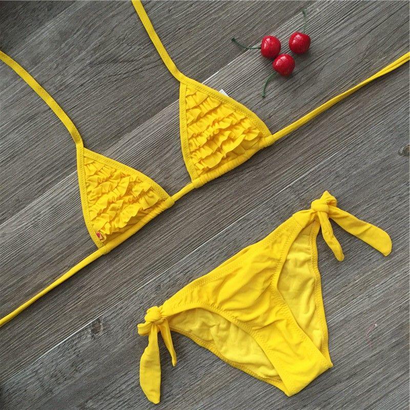 4 couleur marque 2019 été maillot de bain filles soild bébé enfants maillots de bain biquini infantil maillots de bain falbala bikini fille pour 6-14 ans