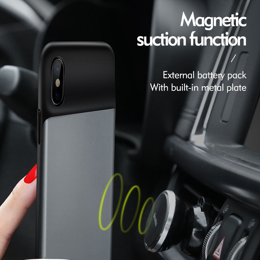 Externe Batterie + Magnetische Funktion Fall Für iPhone X Abdeckung Großhandel Luxus Flüssigkeit Smart Leere Telefonkasten Für iPhoneX