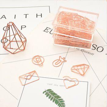 TUTU Rose gold COLOR Plastic coated electroplating pineapple goblet Heart Shape Paper Clips Funny Bookmark Marking Clips H0029