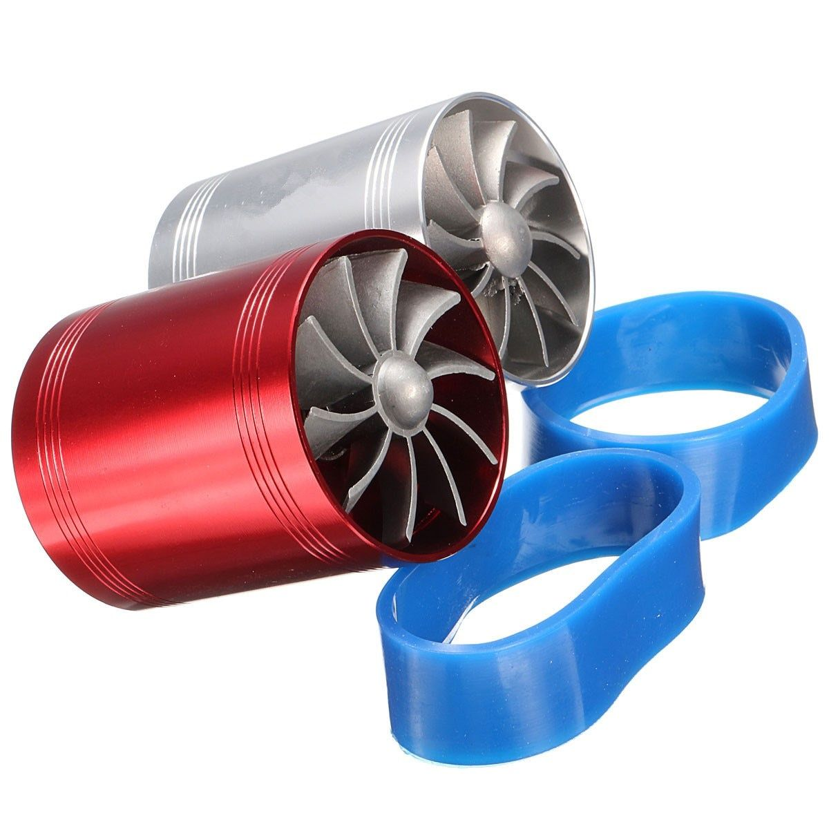 Universal Car Turbo Supercharger Air Intake Dual Fan Turbonator Gas Fuel Saver Red Chrome Aluminum