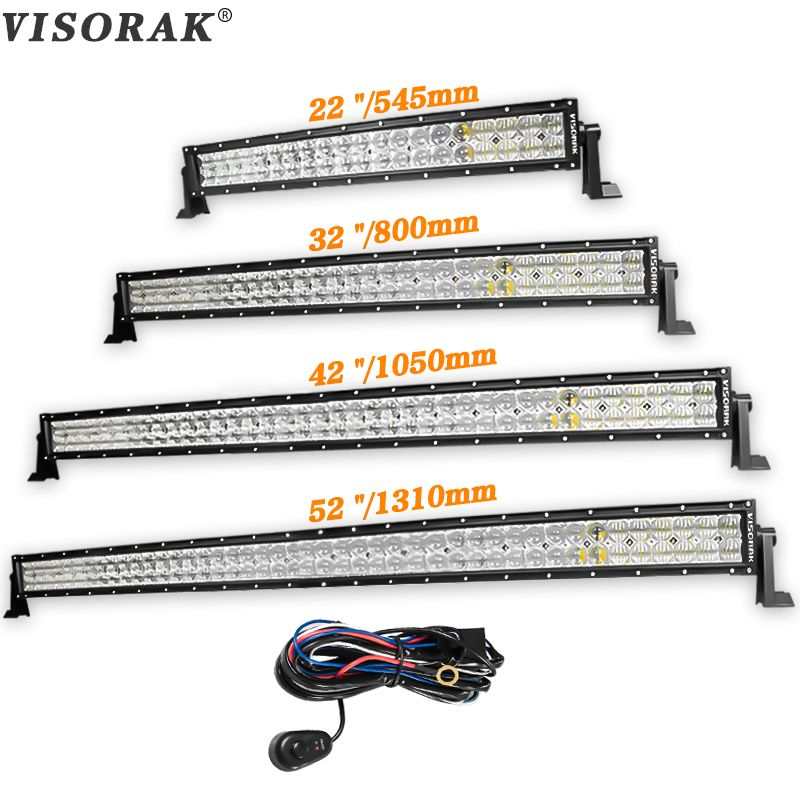 VISORAK 5D 22 32 42 52 inch Straight LED Bar 200W 300W 400W 500W LED Work Light Bar For Tractor OffRoad 4WD 4x4 Truck SUV ATV