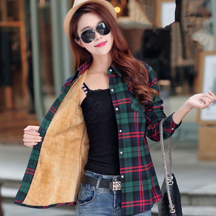 Femmes Automne Hiver Chaud Blouses Tops Blusa Camisa Femininas à manches Longues En Coton Épais Velours Chemise À Carreaux Chemises En Flanelle Plus XXL