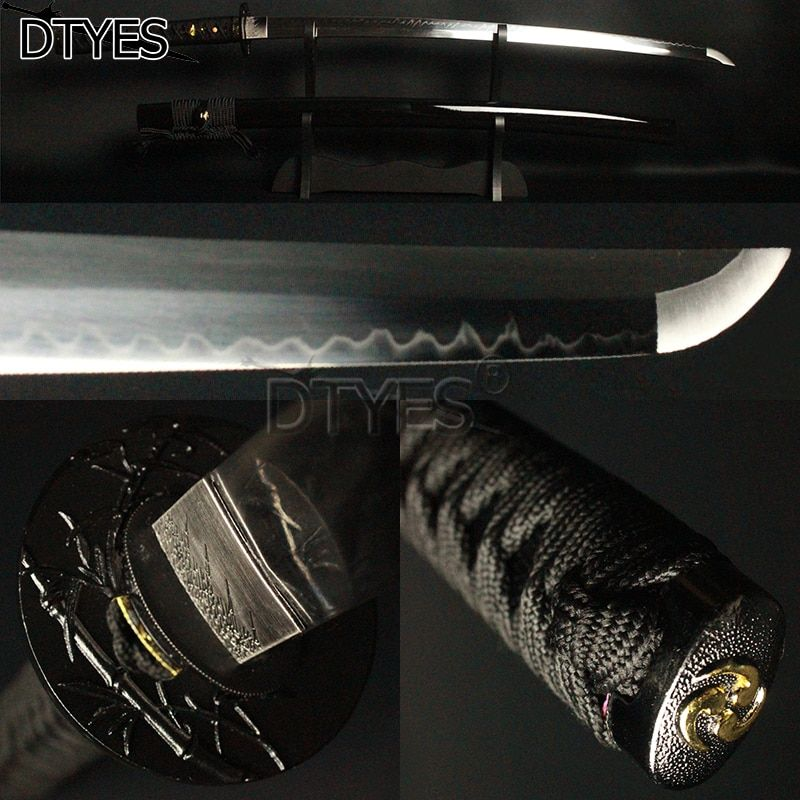 T10 Carbon Steel Clay Tempered Real Hamon Japanese Samurai Katana Sword Full Tang No Hi Shinogi Zukuri Blade Sharp Battle Ready