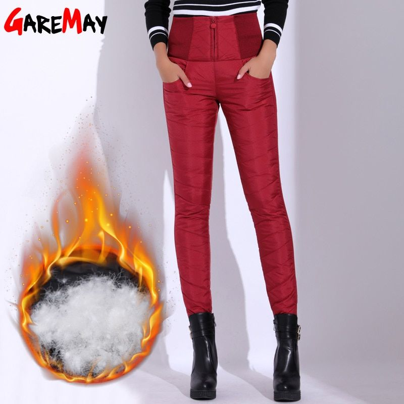 Winter Pants Women Duck Down Velvet High Waist Skinny Warm Formal Pants Female Black Elastic Waist Work Trousers Women GAREMAY