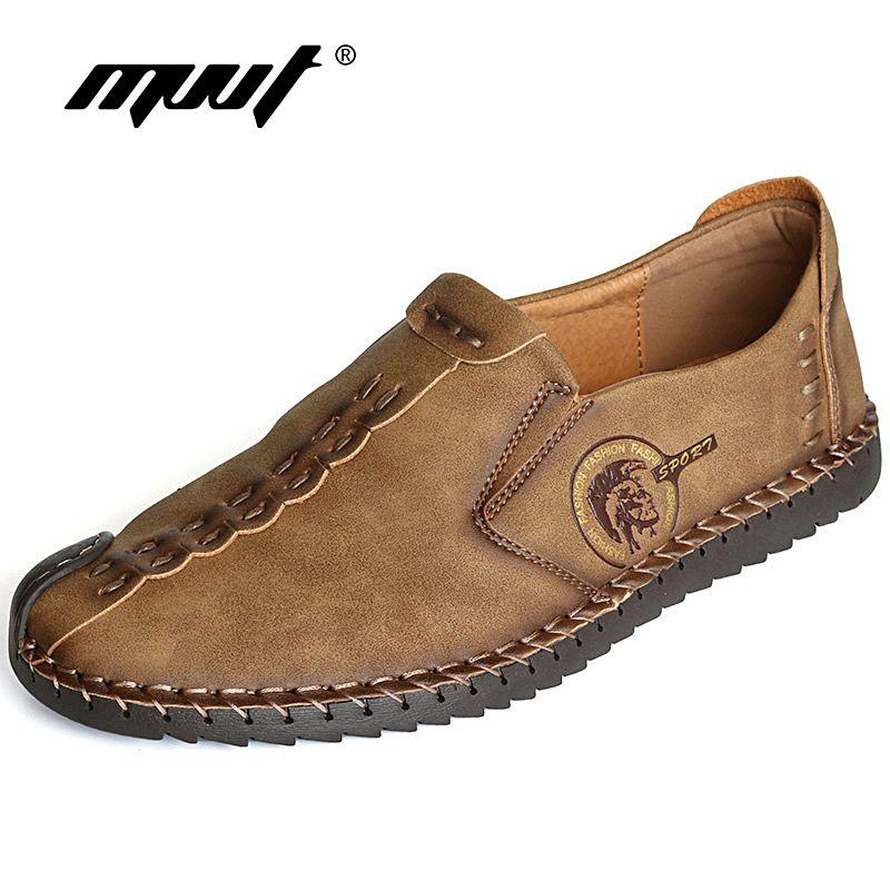 Classic <font><b>Comfortable</b></font> Men Casual Shoes Loafers Men Shoes Quality Split Leather Shoes Men Flats Hot Sale Moccasins Shoes Plus Size