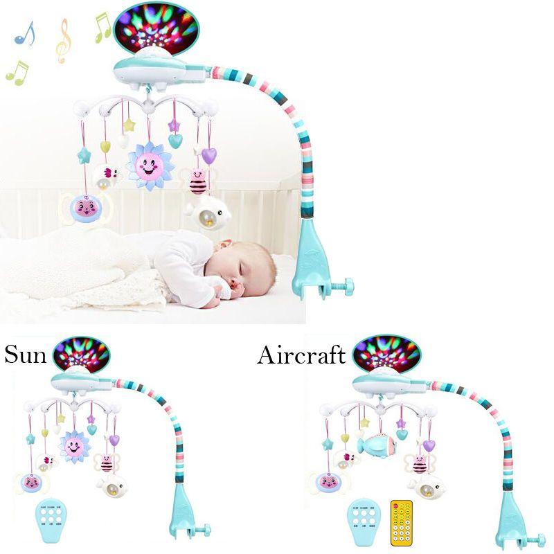 Nouveau nouveau-né de projection de la musique tournant lit cloche 0-1 ans bébé jouet cloche sonner la cloche suspendus bébé hochet jouets