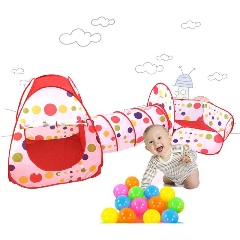 Foldable Children Tent Pool-Tube-Teepee 3pcs Pop-up <font><b>Play</b></font> Tent Toys Tunnel Kids <font><b>Play</b></font> House Ball Pool <font><b>Play</b></font> Tent Lodge for Children