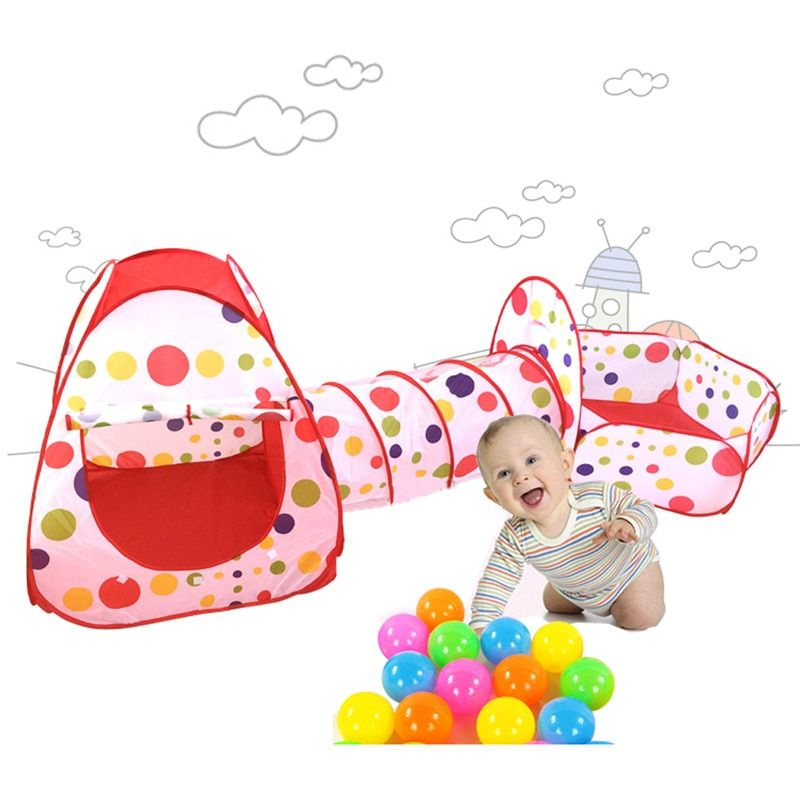 Foldable Children Tent Pool-<font><b>Tube</b></font>-Teepee 3pcs Pop-up Play Tent Toys Tunnel Kids Play House Ball Pool Play Tent Lodge for Children
