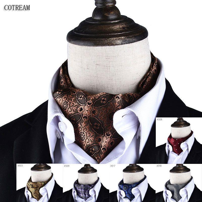 Men Vintage Polka Dot Wedding Formal Cravat Ascot Scrunch Self British style Gentleman Polyester Neck Tie Luxury